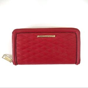 Rebecca Minkoff Red Quilted Leather Zipper Wallet